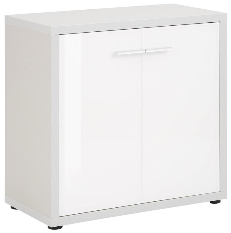 Opbergkast Banco 77 cm hoog Platina grijs met wit