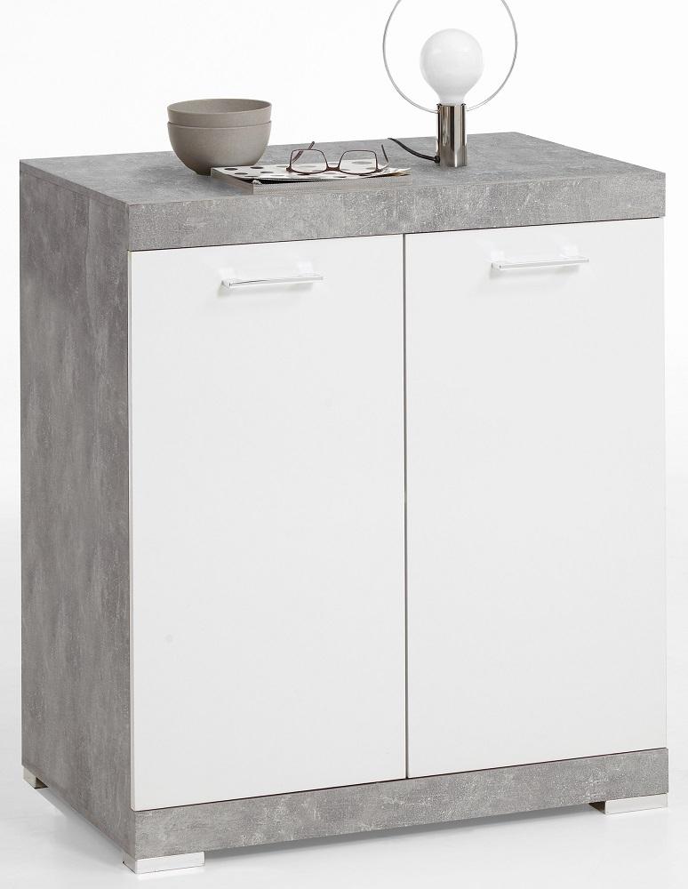 Opbergkast Bristol 1 XL van 90 cm hoog in grijs beton met wit