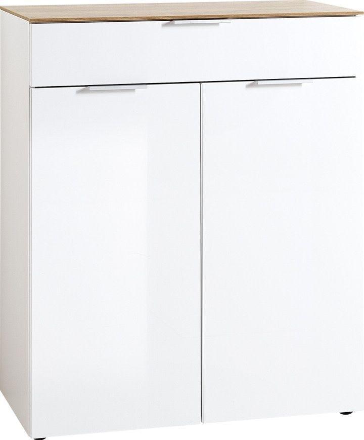 Opbergkast Cetano 106 cm hoog Hoogglans wit met navarra Eiken