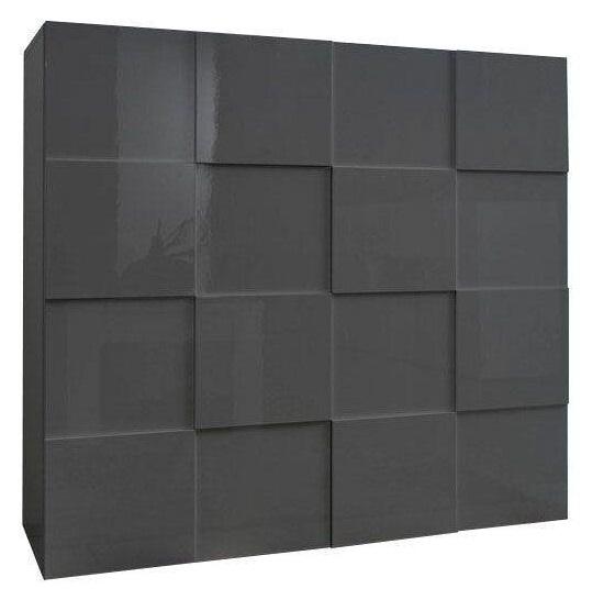 Opbergkast Dama 111 cm hoog - Hoogglans grijs