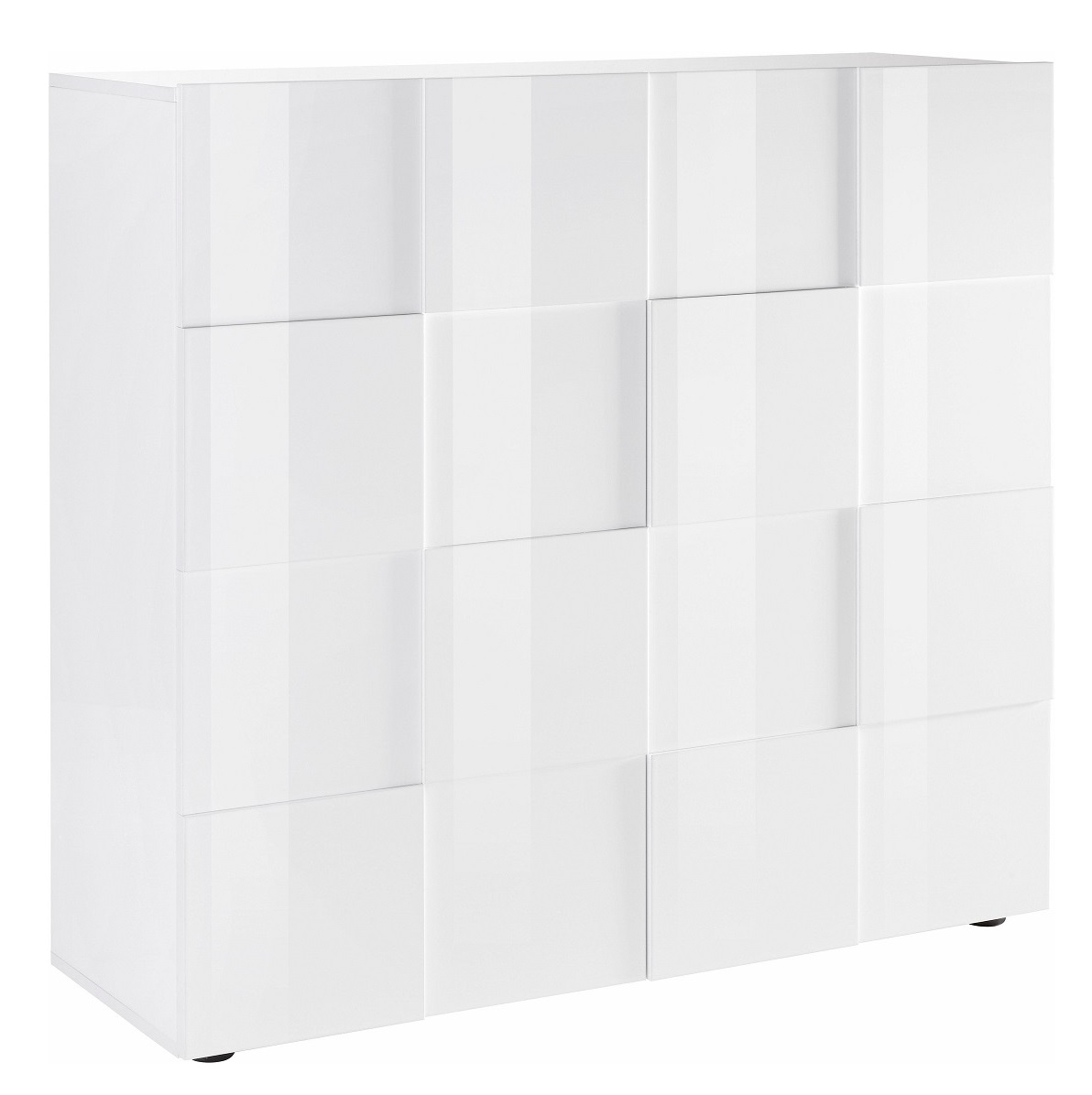 Opbergkast Dama 111 cm hoog Hoogglans wit