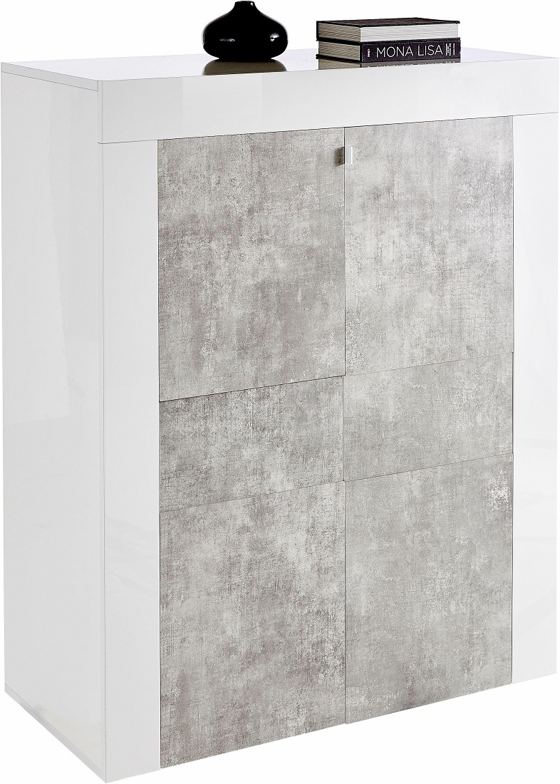 Opbergkast Easy 125 cm hoog - Hoogglans wit met grijs beton