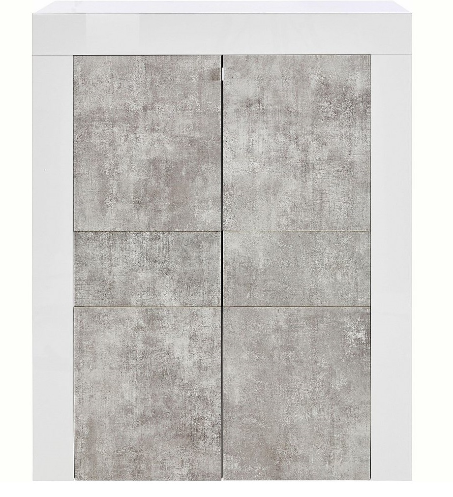 Opbergkast Easy 125 cm hoog Hoogglans wit met grijs beton