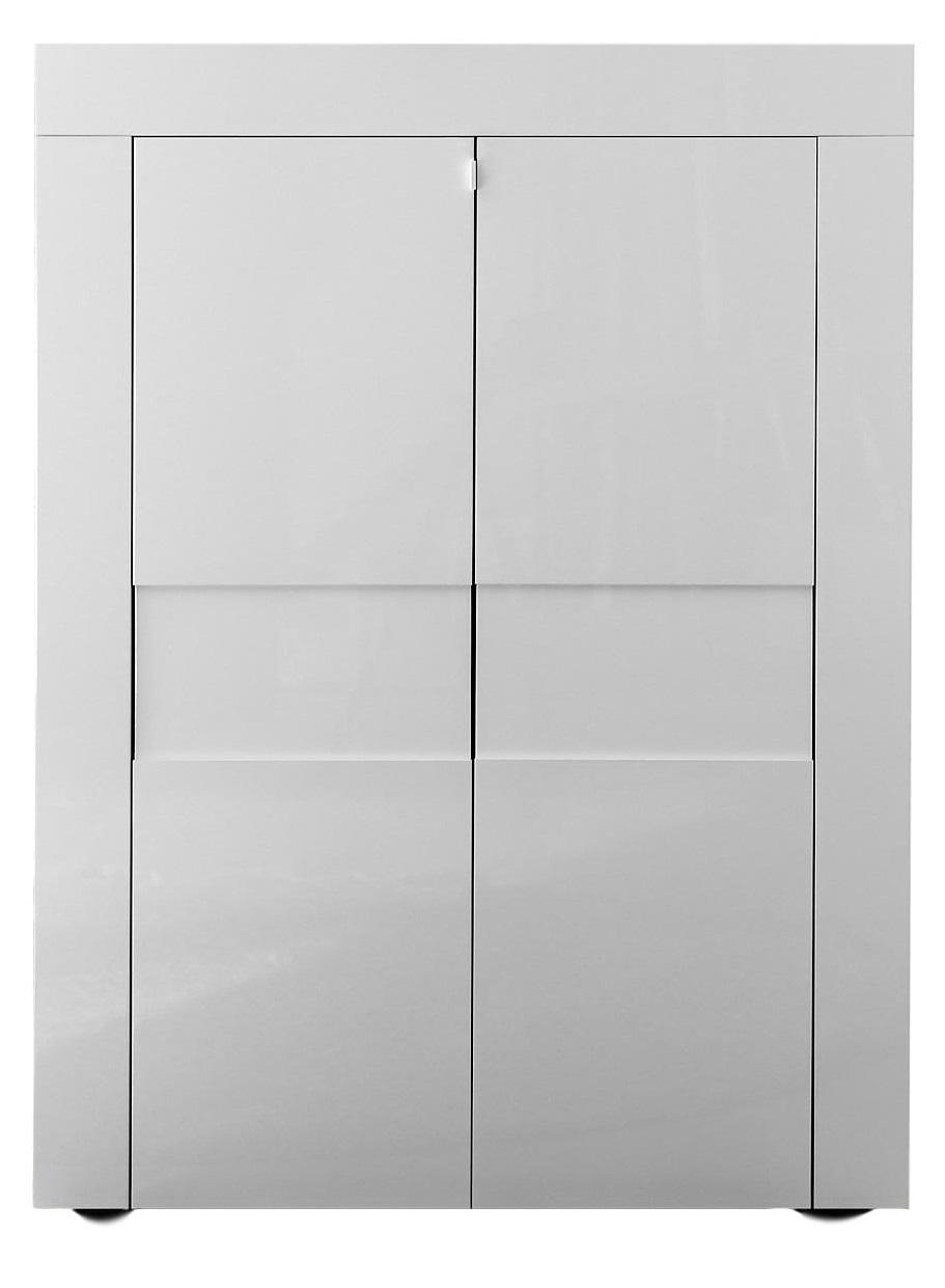 Opbergkast Easy 125 cm hoog Hoogglans wit