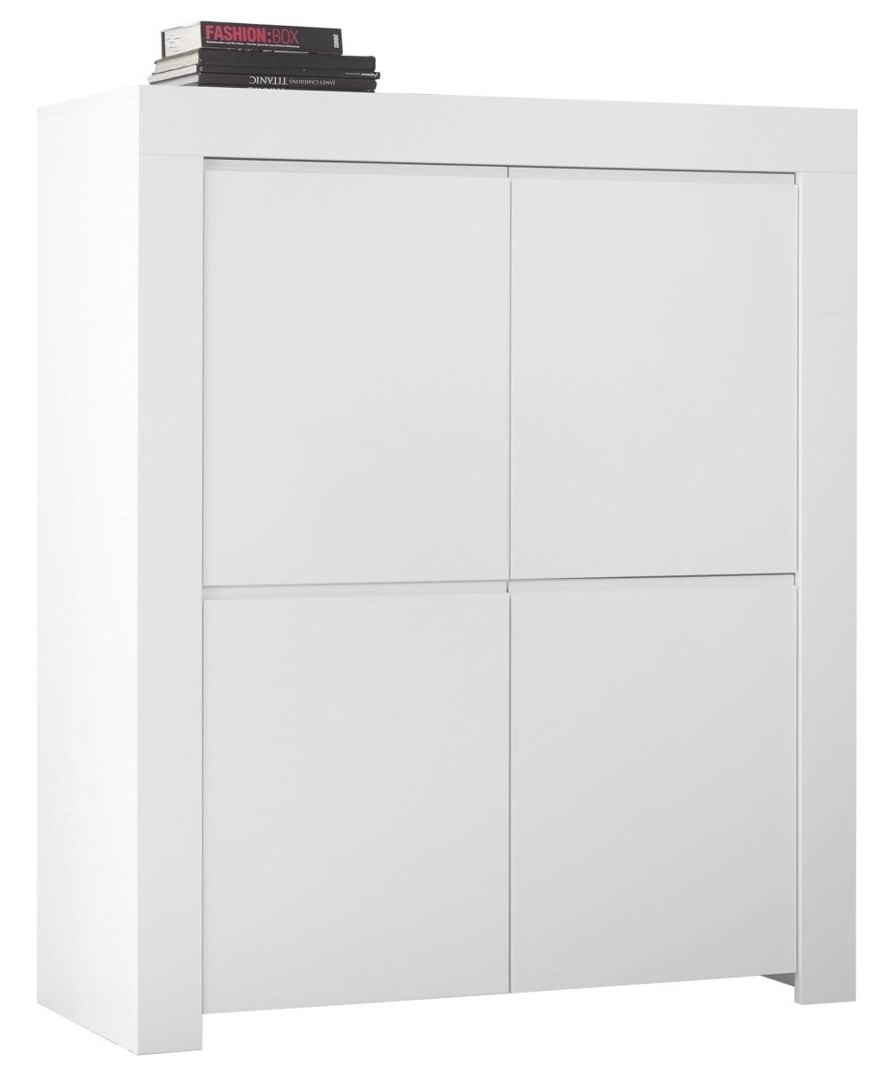 Opbergkast Firenze 140 cm hoog in mat wit