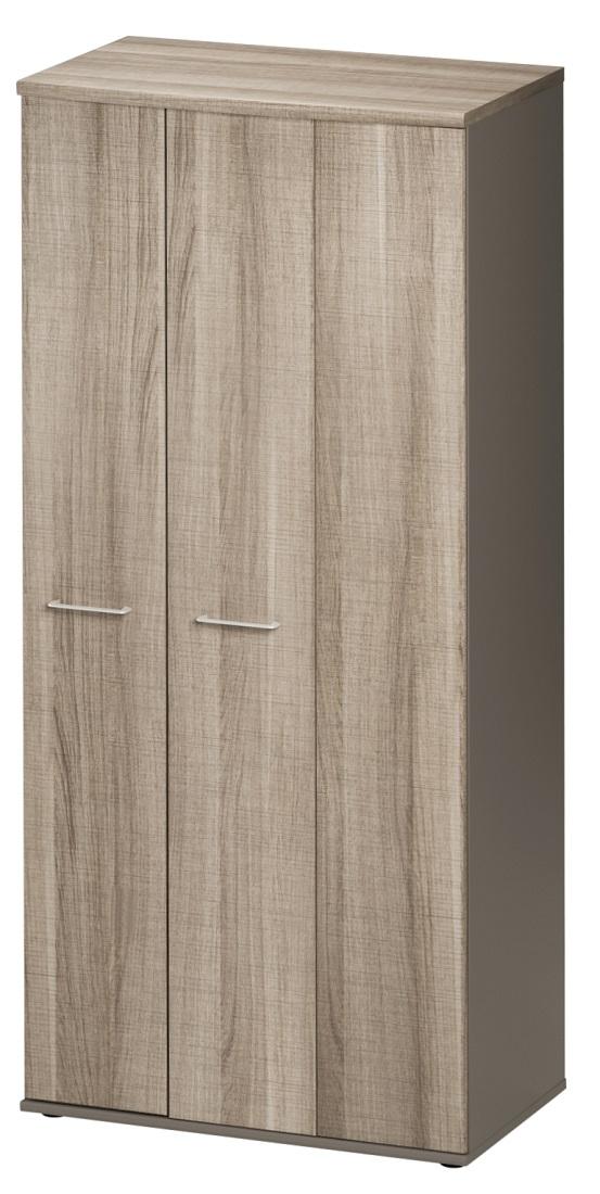 Opbergkast Jazz 183 cm hoog in grijs eiken met grijs