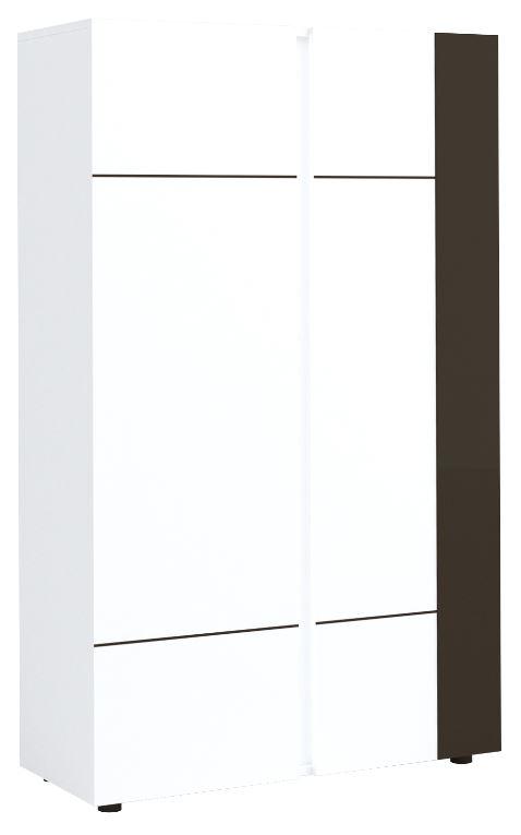 Opbergkast Karat 165 cm hoog Hoogglans wit met antraciet