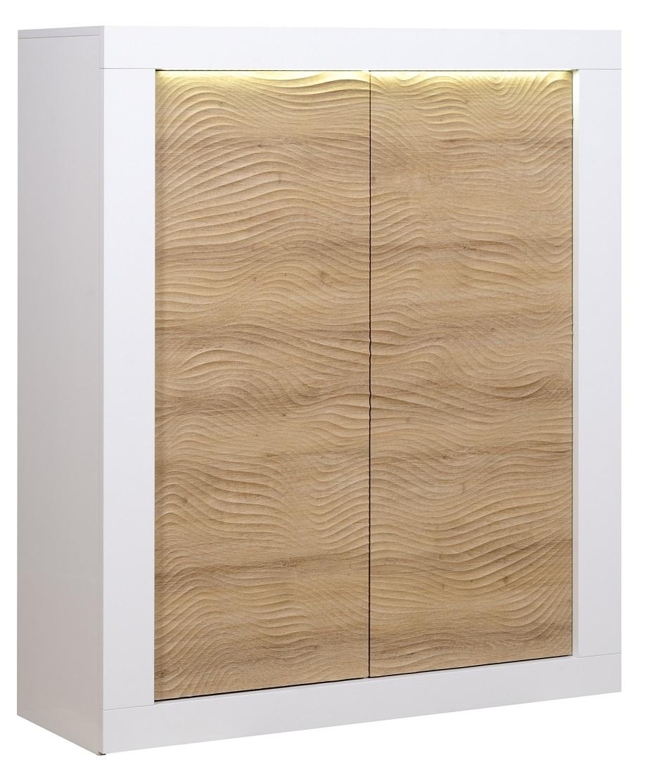 Opbergkast Karma 145 cm hoog Hoogglans wit met Eiken