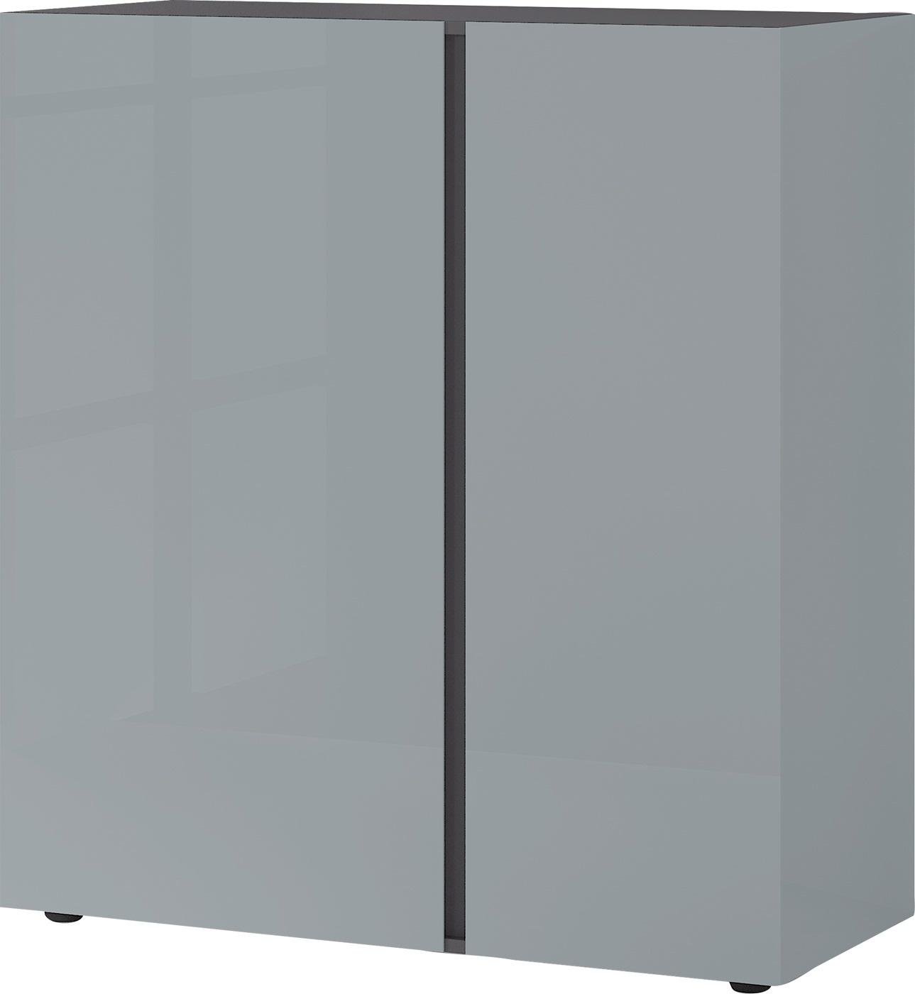Opbergkast Mesa M 103 cm hoog in grafiet met zilvergrijs