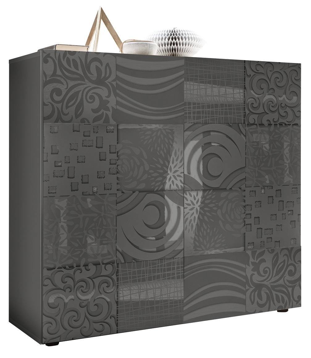 Opbergkast Miro 111 cm hoog in hoogglans antraciet