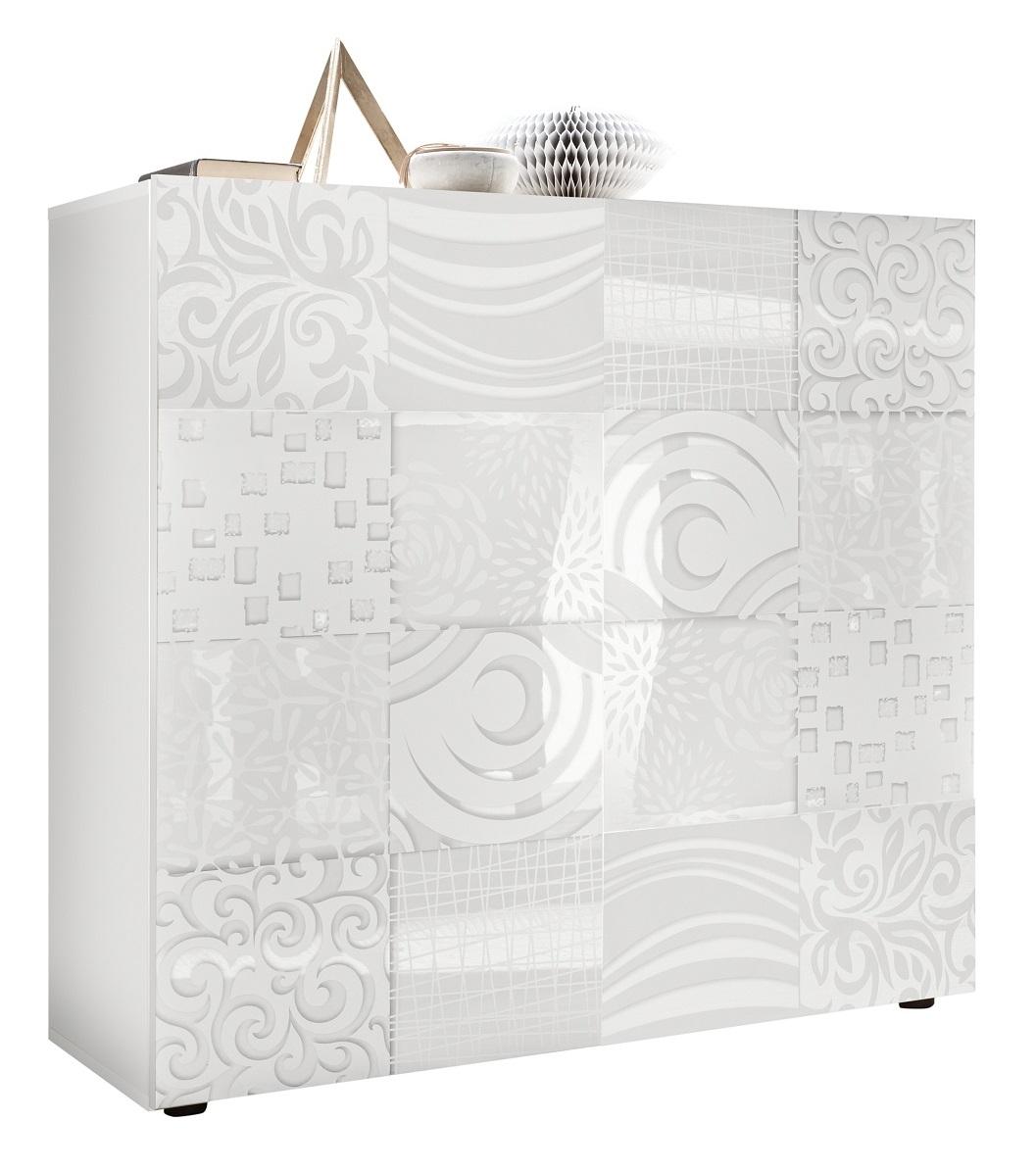 Opbergkast Miro 111 cm hoog in hoogglans wit