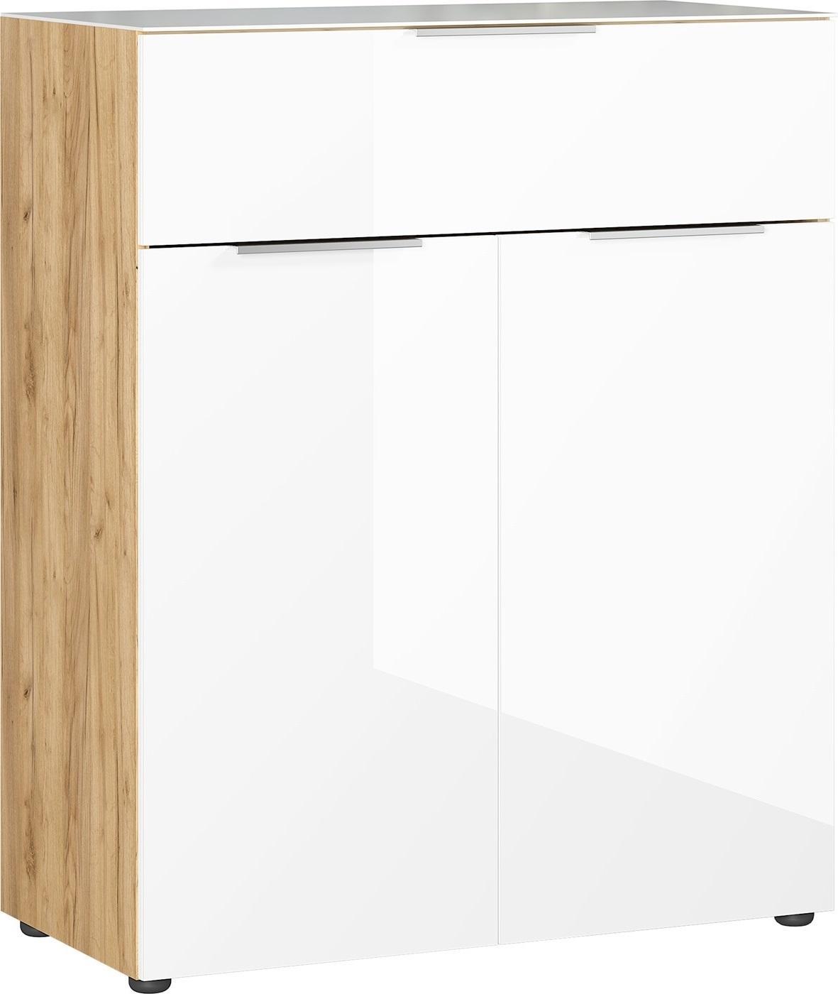 Opbergkast Oakland 102 cm hoog in wit met navarra eiken