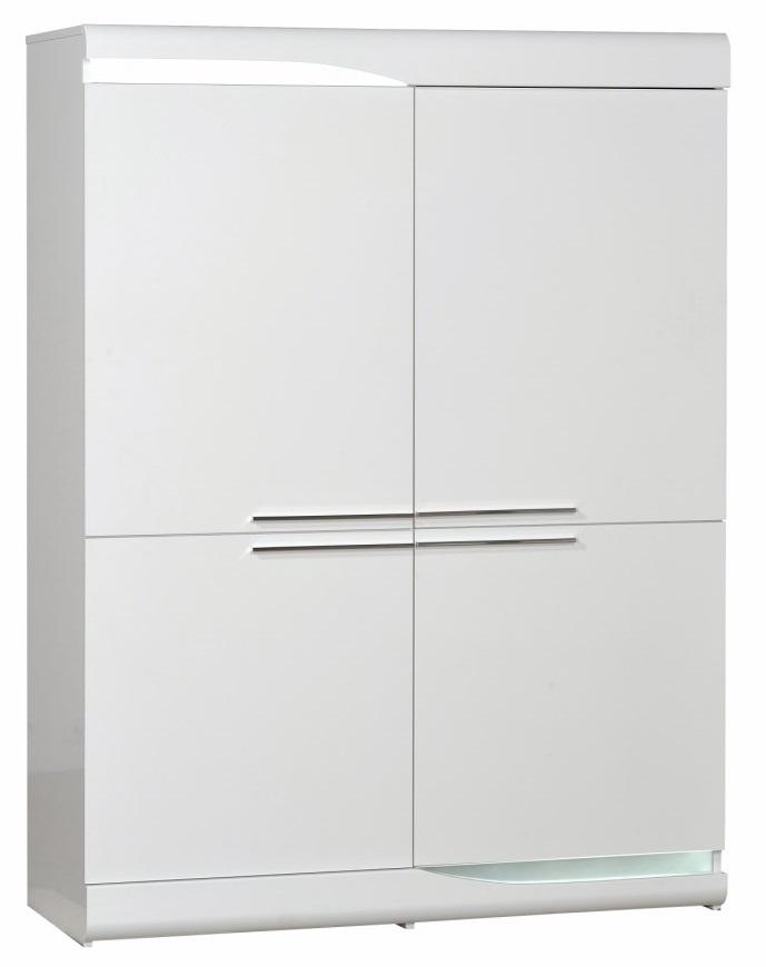 Opbergkast Ovio 160 cm hoog - Hoogglans wit