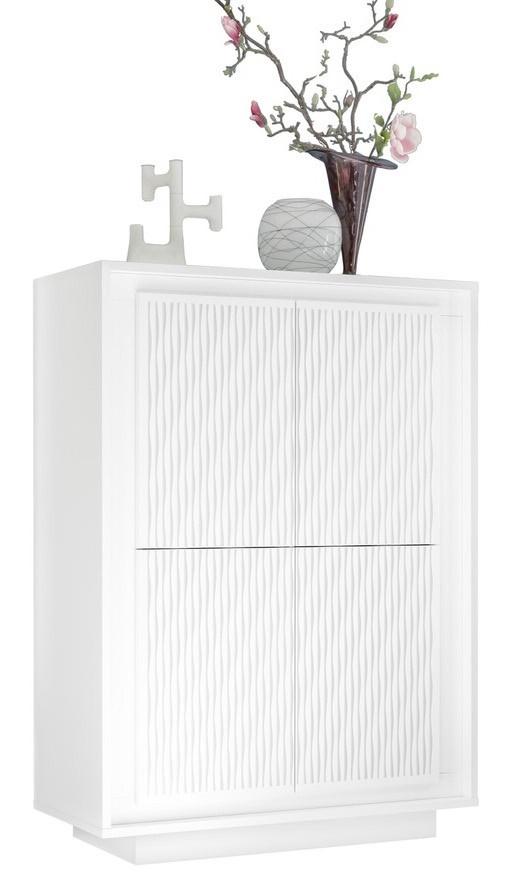 Opbergkast SKY 146 cm hoog - Gestreept wit
