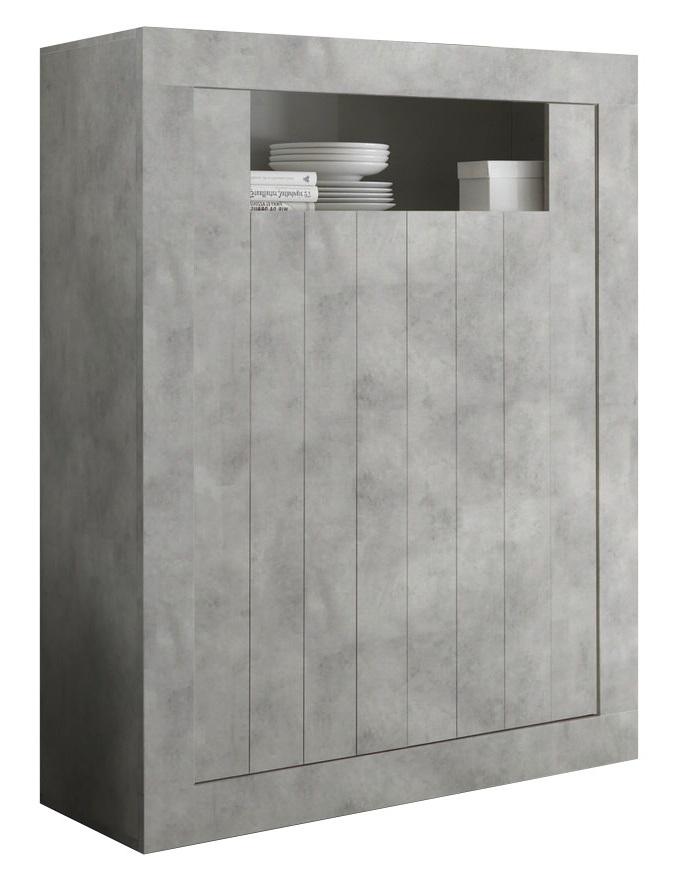 Opbergkast Urbino 144 cm hoog in grijs beton