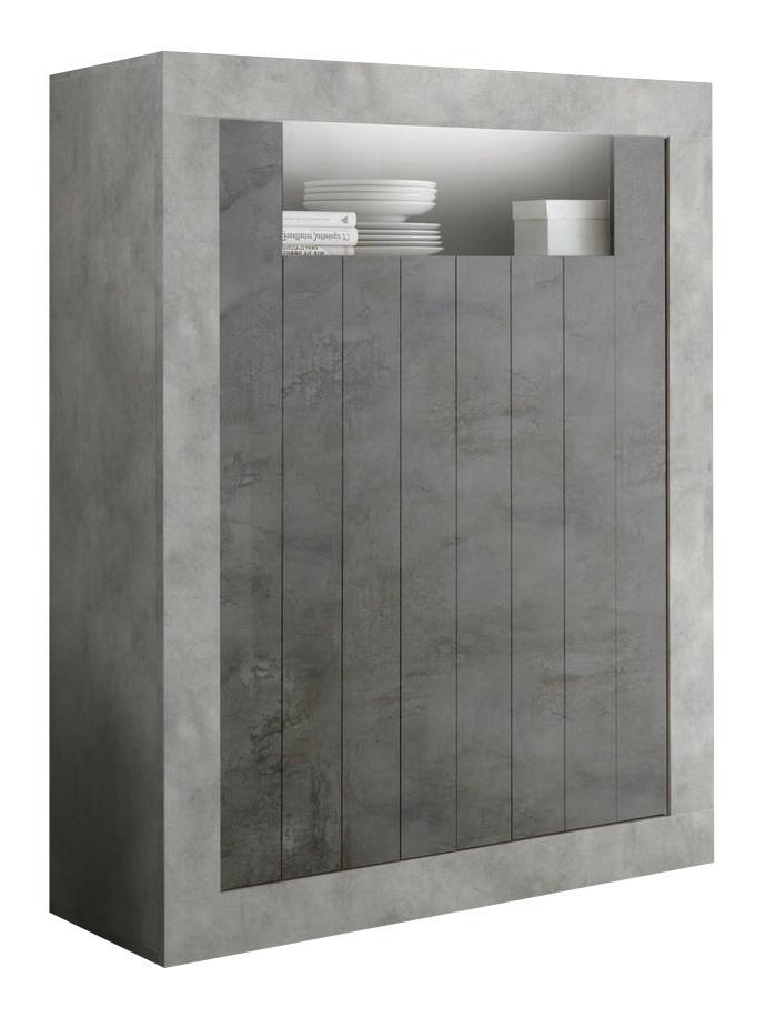 Opbergkast Urbino 144 cm hoog in grijs beton met oxid