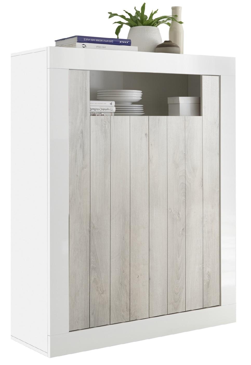 Opbergkast Urbino 144 cm hoog in hoogglans wit met grenen wit