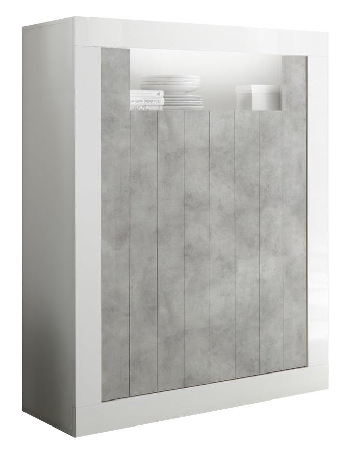 Opbergkast Urbino 144 cm hoog in hoogglans wit met grijs beton