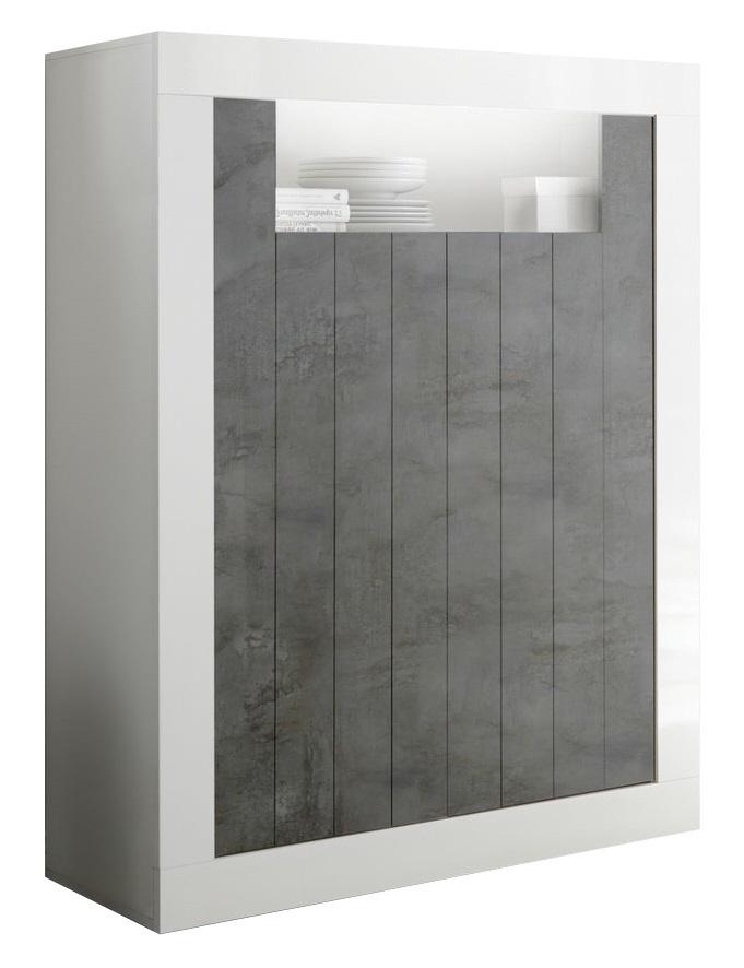 Opbergkast Urbino 144 cm hoog in hoogglans wit met oxid