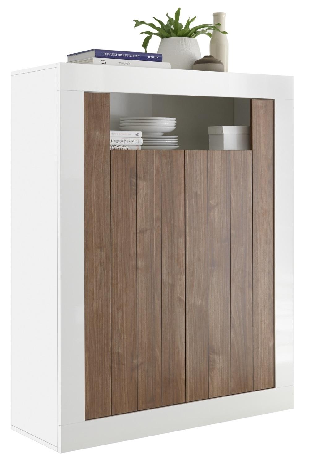 Opbergkast Urbino 144 cm hoog in hoogglans wit met walnoot