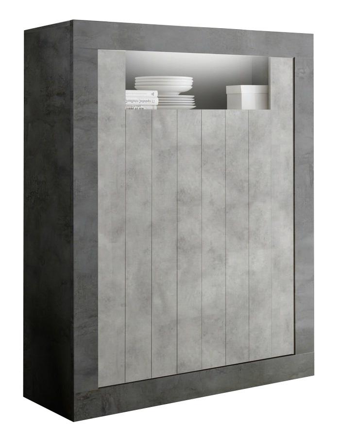 Opbergkast Urbino 144 cm hoog in Oxid met grijs beton