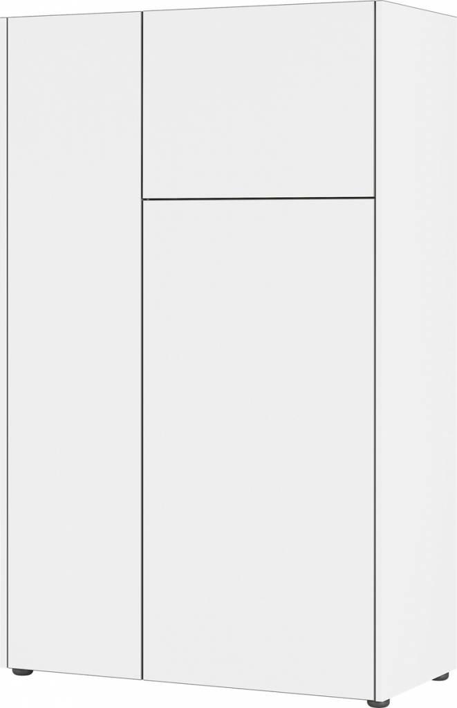 Opbergkast Veluva 141 cm breed in wit met grafiet