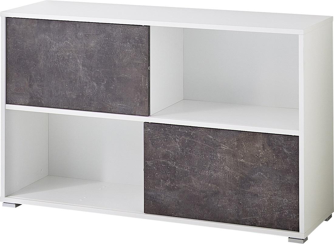 Boekenkast Altino 120 cm breed in wit met grijs basalt