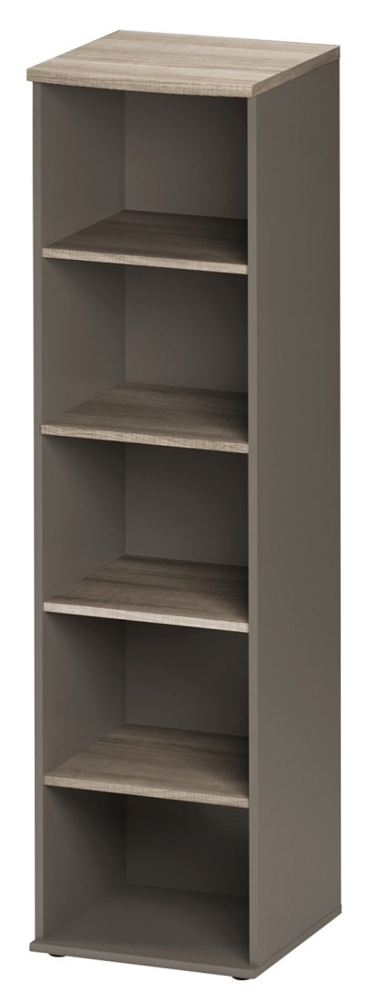 Boekenkast Jazz 1 van 183 cm hoog in grijs eiken met grijs