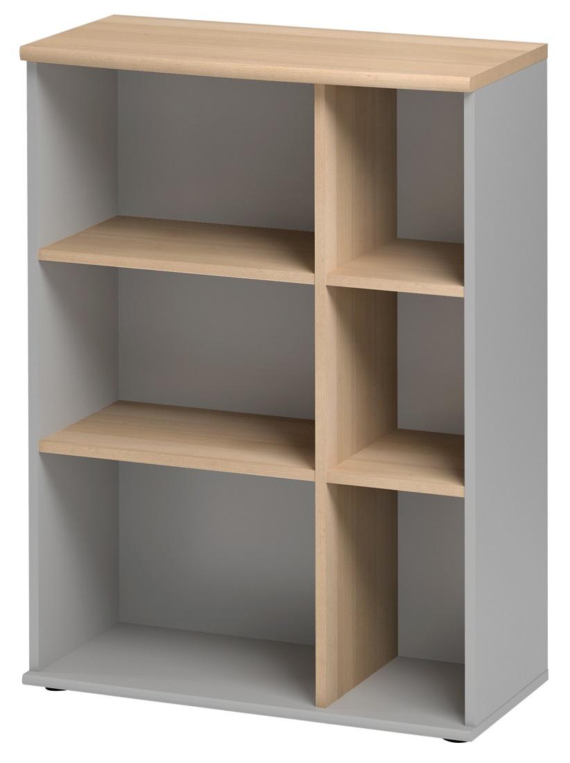 Open Boekenkast Jazz 3 van 114 cm hoog in beuken met licht grijs
