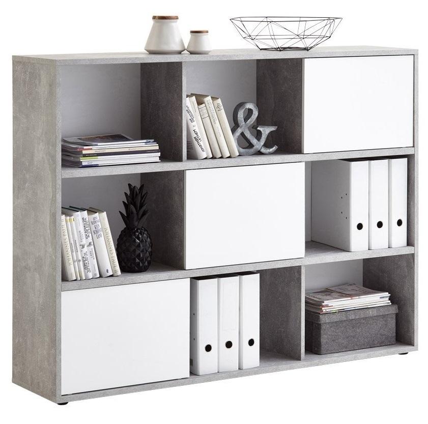 Open Boekenkast Ruta 145 cm breed - Grijs beton met Hoogglans wit