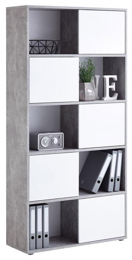 Open Boekenkast Ruta 2 - Grijs beton met Hoogglans wit