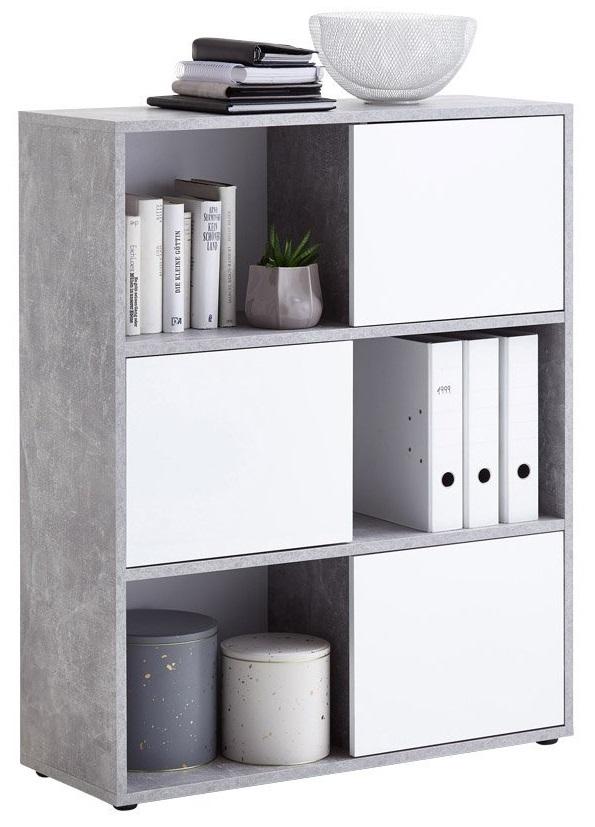 Open Boekenkast Ruta - Grijs beton met Hoogglans wit