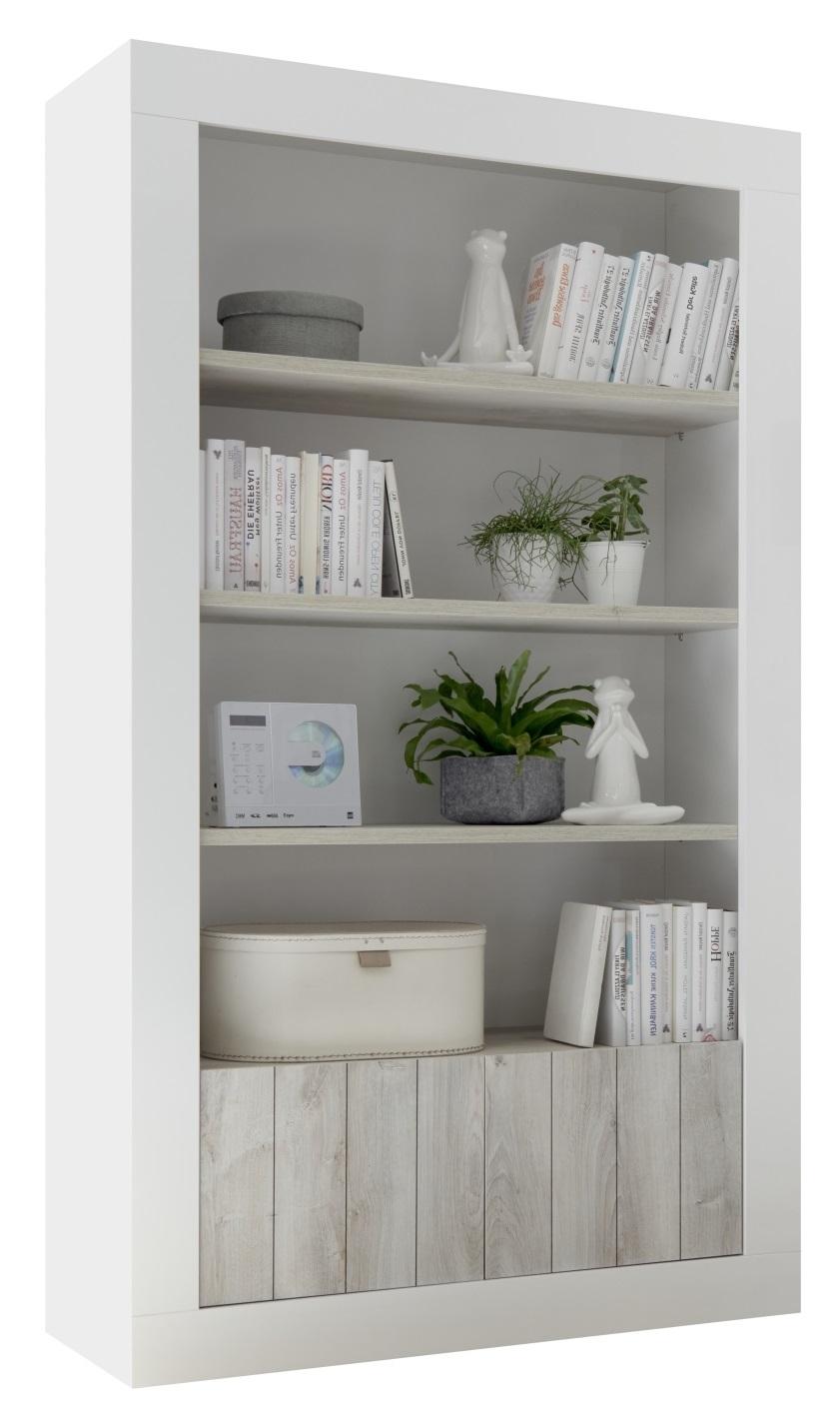 Boekenkast Urbino 190 cm hoog in hoogglans wit met grenen wit