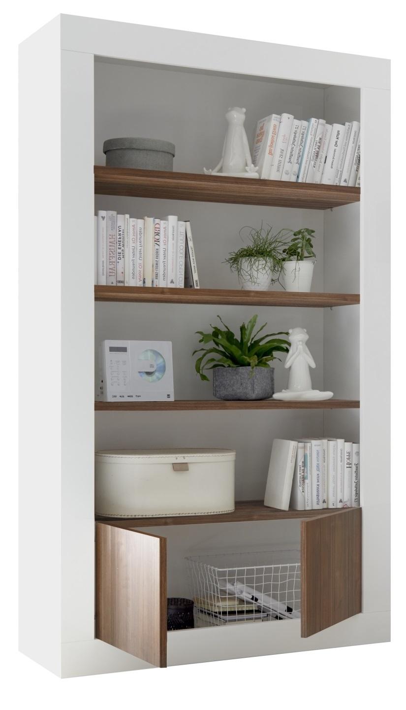 Boekenkast Urbino 190 cm hoog in hoogglans wit met walnoot