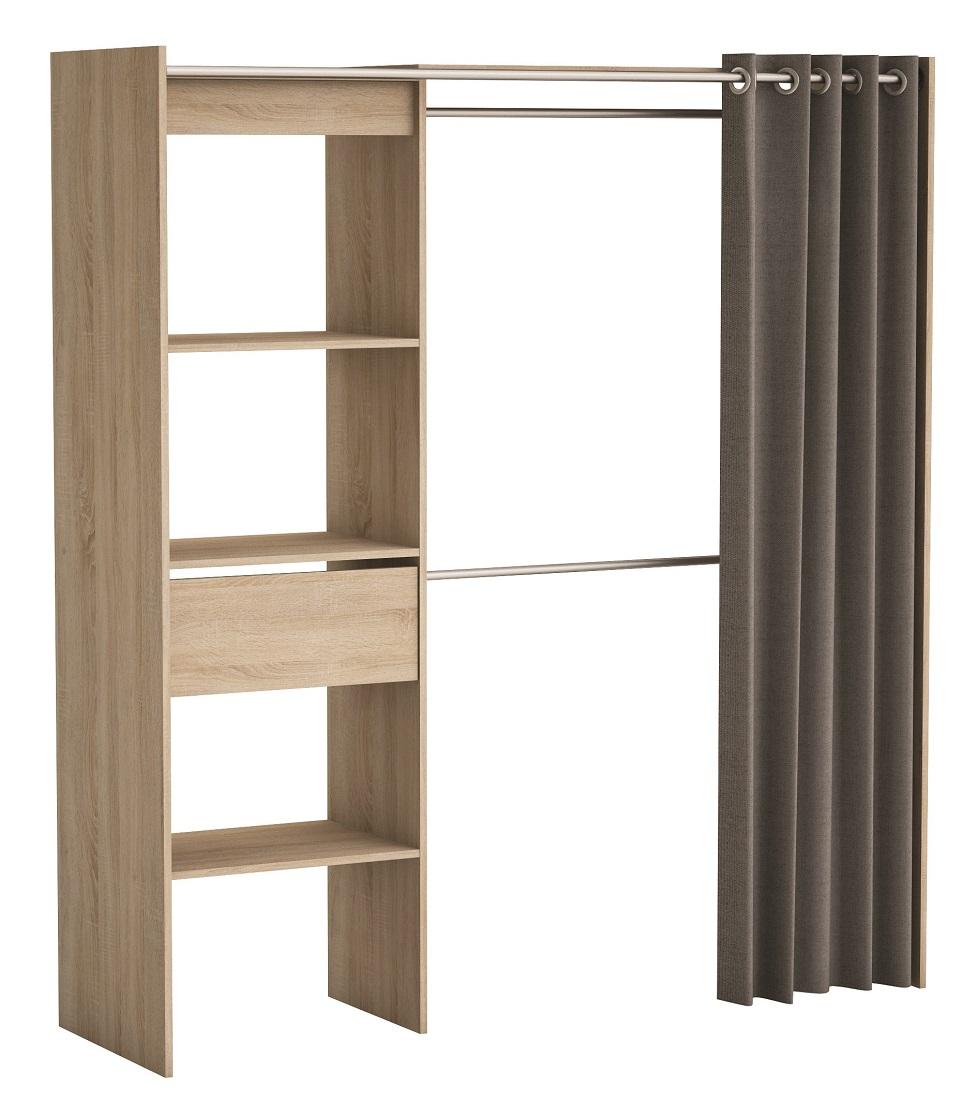 Open goedkope kledingkast Chicago 187 cm hoog  Geborsteld eiken Young Furniture