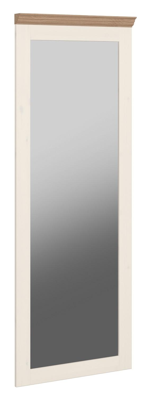 Passpiegel Monaco 144 cm hoog in wit whitewash met steen