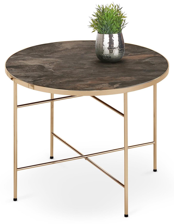 Ronde salontafel Isabella 60 cm breed in donker marmer