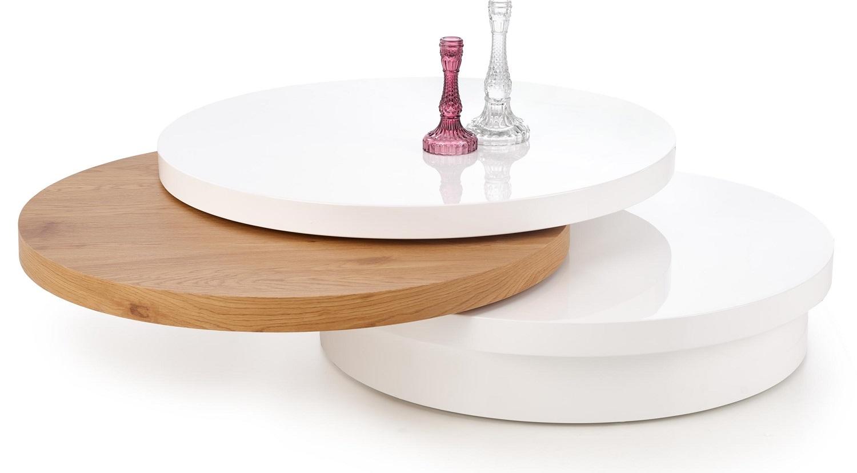Ronde salontafel Michelle 80 cm breed in wit met goud eiken
