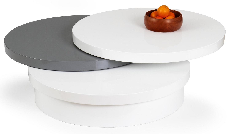 Ronde salontafel Michelle 80 cm breed in wit met grijs