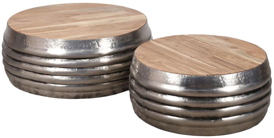 Ronde salontafel set Mistro in antiek nikkel