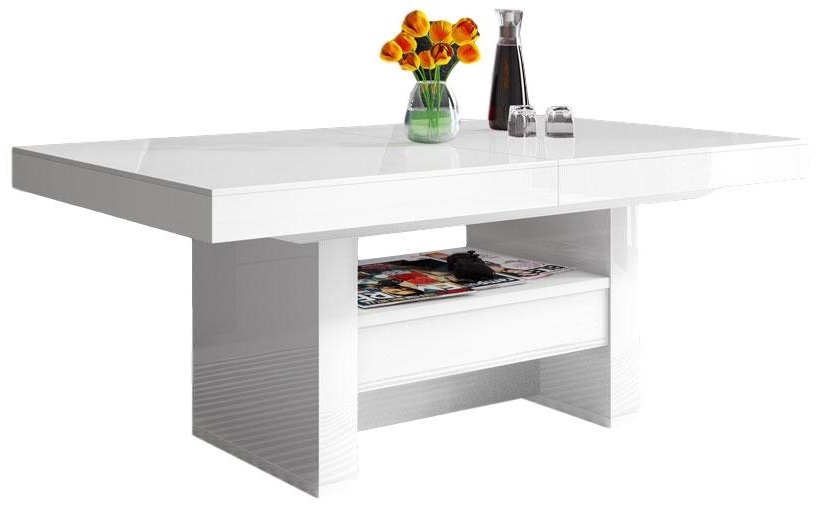 Salontafel / Eettafel Aversa Lux 120 cm - Hoogglans Wit
