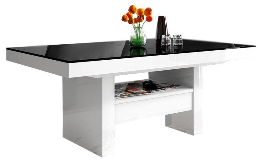 Salontafel / Eettafel Aversa Lux 120 cm - Hoogglans Wit met zwart