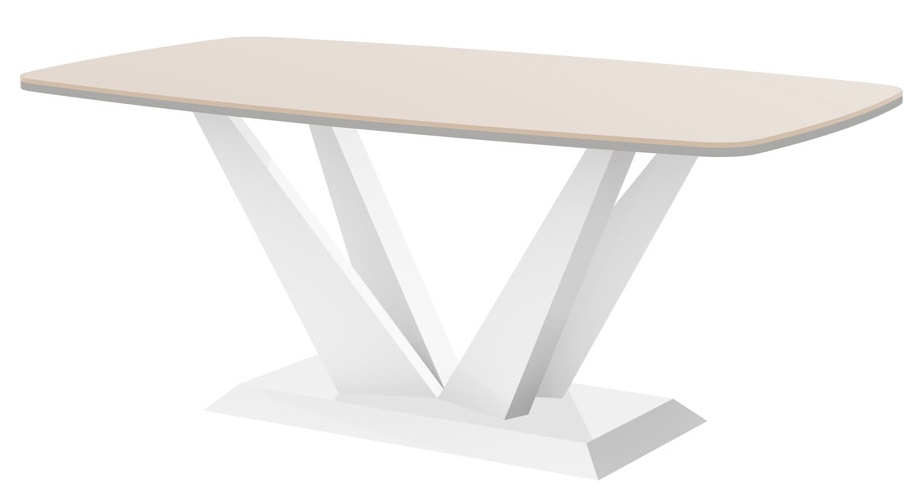 Salontafel Perfecto mini 125 cm breed in hoogglans cappuccino met wit