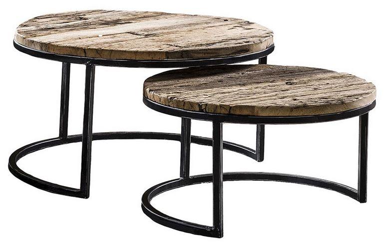 Salontafel Set Marx van 32 en 40 cm hoog - Robuust hardhout