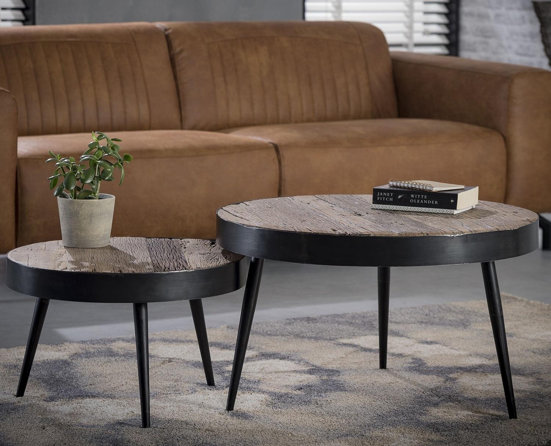 Salontafel Set Nova van 37 en 45 cm hoog Robuust hardhout