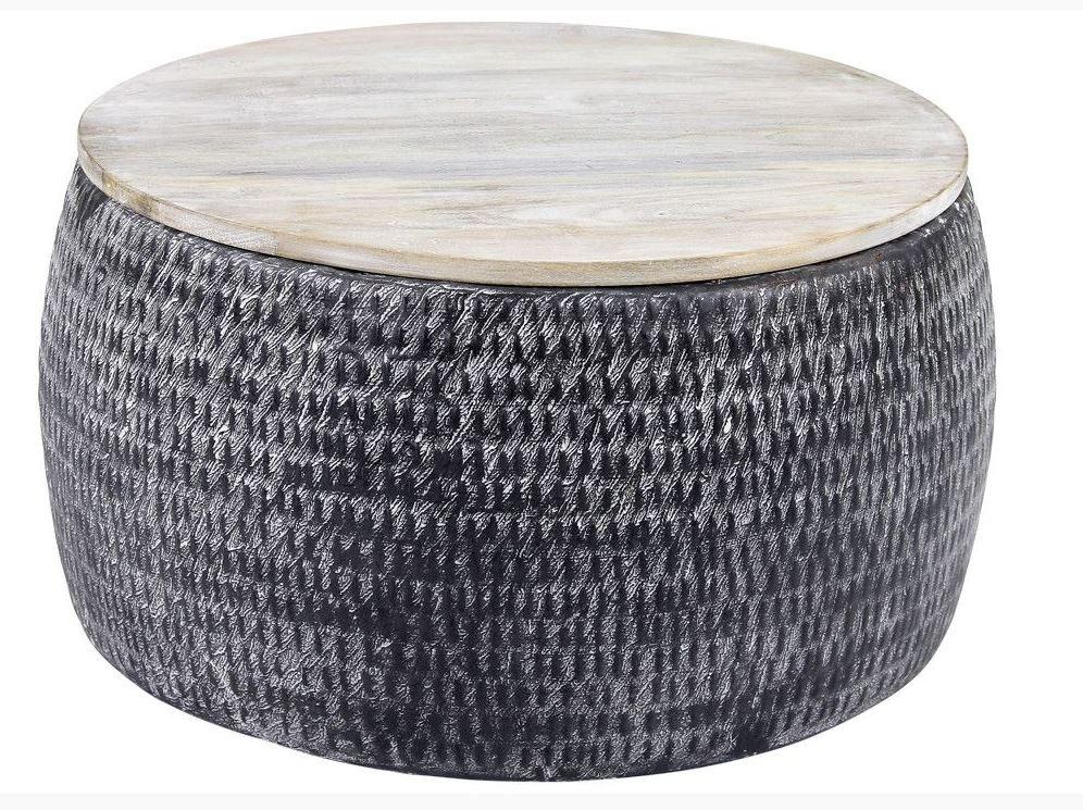 Ronde salontafel Sardo 60 cm breed grijs met gepatineerd mango hout