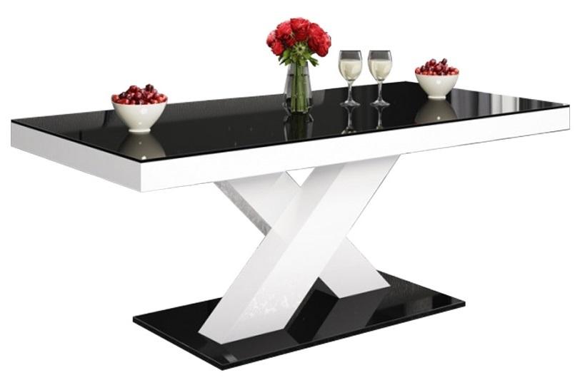 Salontafel Xenon mini 120 cm breed Hoogglans zwart met wit