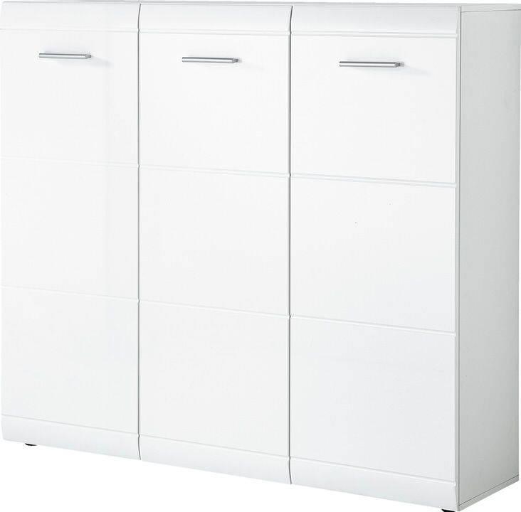 Schoenenkast Adana 134 cm breed in hoogglans wit