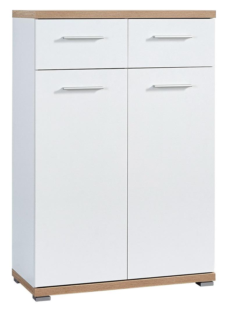 Schoenenkast Apex 110 cm hoog - Wit met eiken