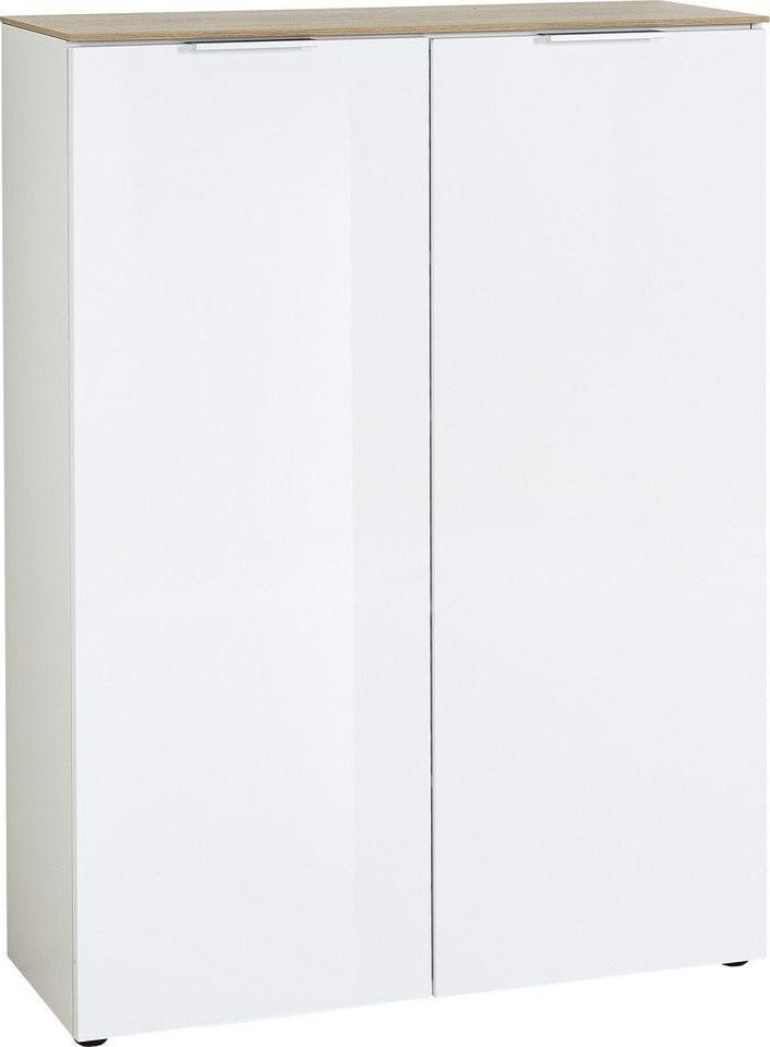Opbergkast Cetano 121 cm hoog in hoogglans wit met navarra eiken